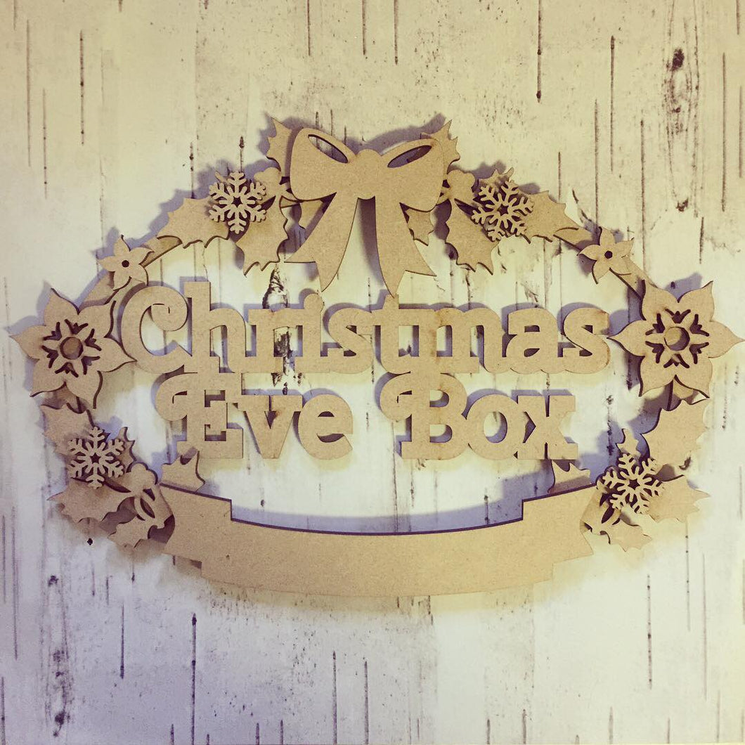 CH069 - MDF Oval Holly and Star Flower Christmas Wreath - Two Sizes & Wording Choice - Olifantjie - Wooden - MDF - Lasercut - Blank - Craft - Kit - Mixed Media - UK
