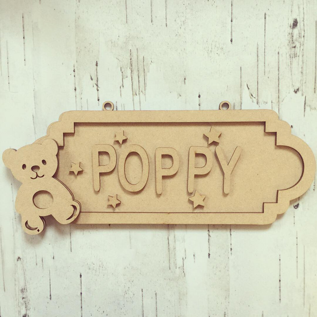 SS059 - MDF Teddy Themed Personalised Street Sign - Medium (8 letters)