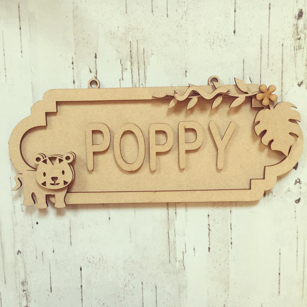SS054 - MDF Tiger theme Personalised Street Sign - Small (6 letters) - Olifantjie - Wooden - MDF - Lasercut - Blank - Craft - Kit - Mixed Media - UK