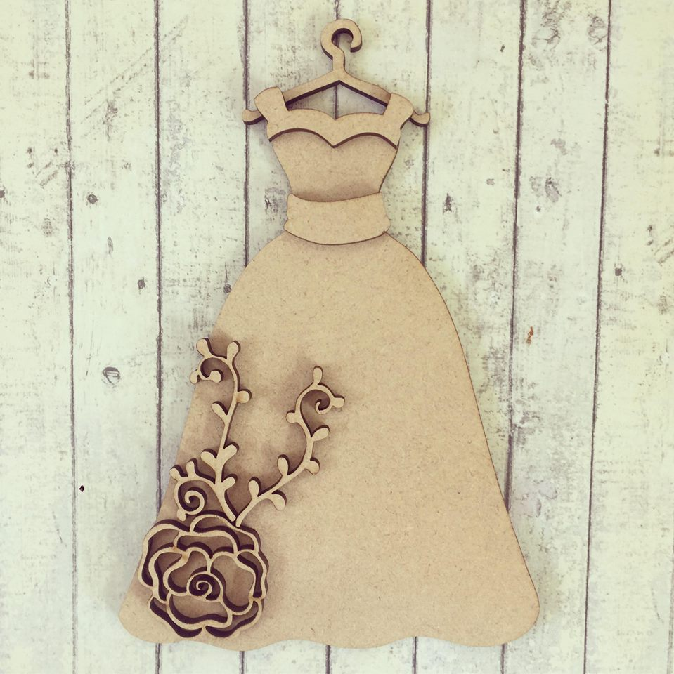 SJ096 - MDF Floral Wedding Dress Hanging - Olifantjie - Wooden - MDF - Lasercut - Blank - Craft - Kit - Mixed Media - UK