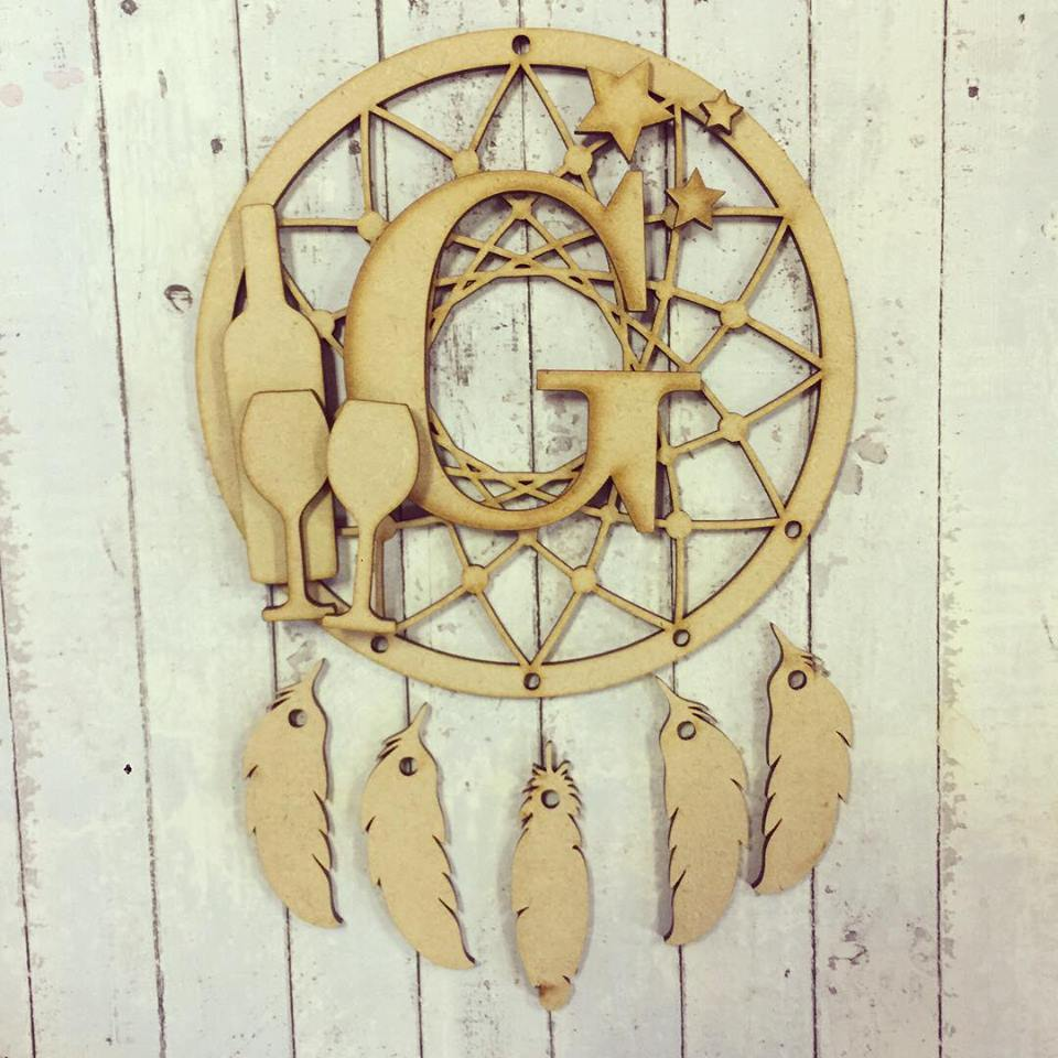 DC036 - MDF Wine Dream Catcher - with Initial, Initials, Name or Wording - Olifantjie - Wooden - MDF - Lasercut - Blank - Craft - Kit - Mixed Media - UK