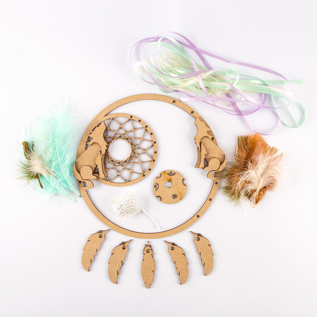 HC067 -  MDF Large Wolves Dreamcatcher with feathers and ribbon