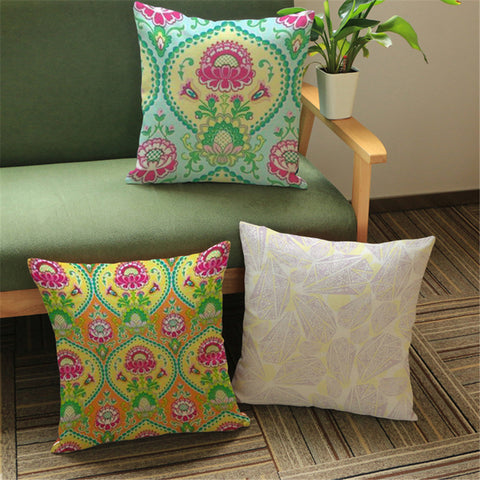 Plant Floral Ethnic Cushion Cover	Vintage Home Decor Tropical Embroidered Sofa Throw Pillows Cover Decorative Homeware 2017 e718 2017