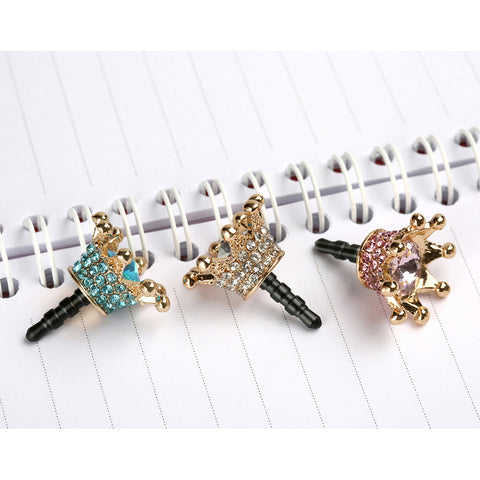 Mini 3.5mm Earphone Jack Crystal Rhinestones Cellphone Charms Audio Headphone Anti Crown Dust Plug Phone 3.5 AUX port Stopper 2017