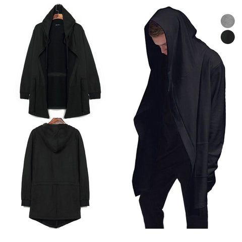Fashion Men Hooded Sweatshirt Hip Hop Mantle Hoodies Jacket Long Sleeves Cloak Coat Outwear FS99 2017