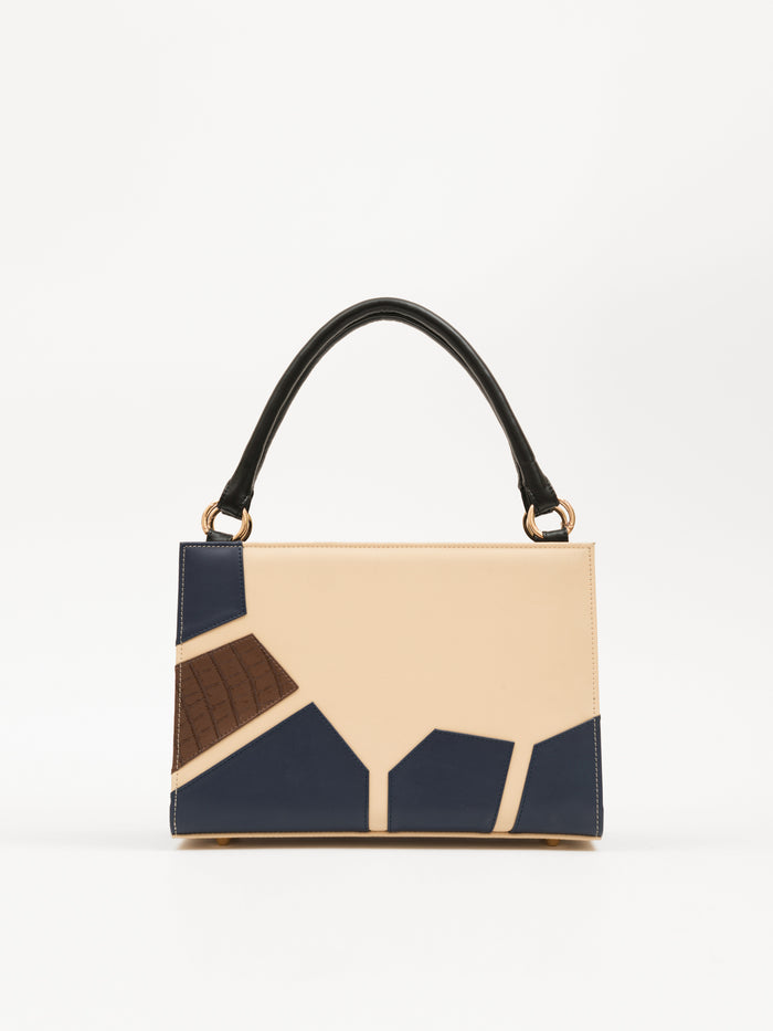 Medium Bag With Geometric Patchwork (Base+Skin) - nobby