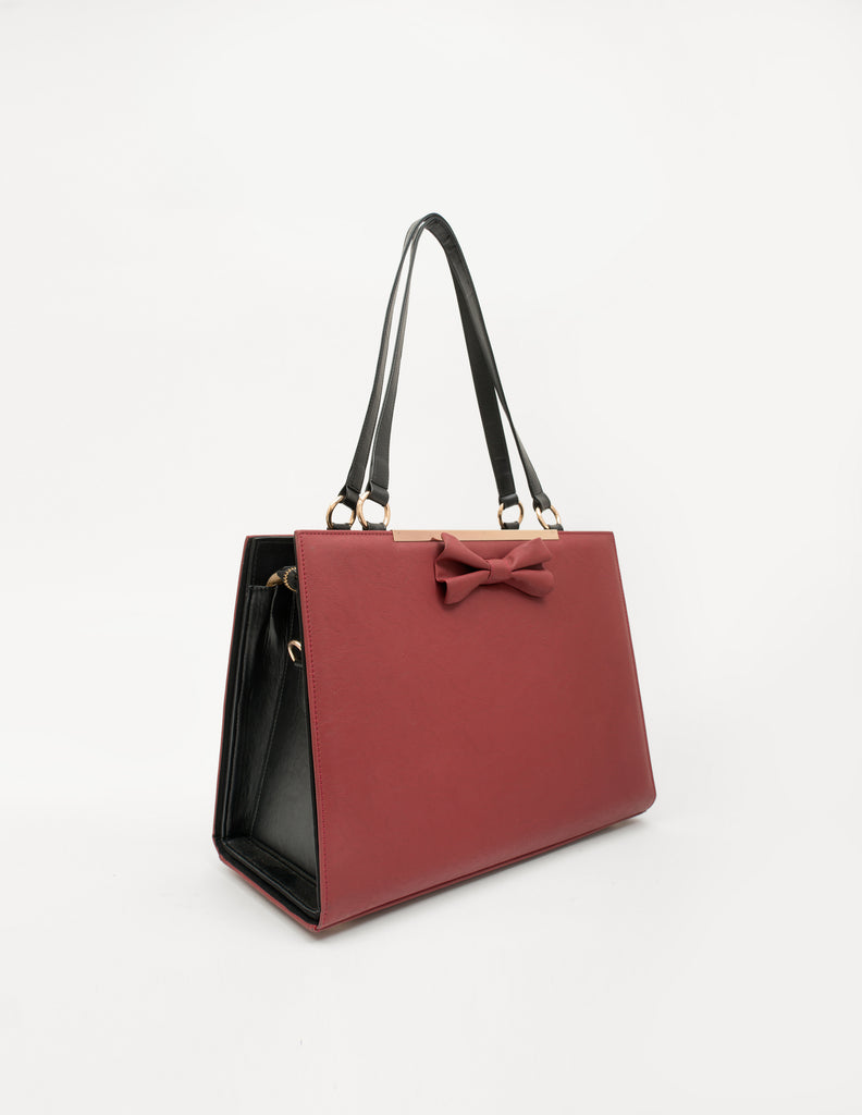 Large Solid Bag With Faux Leather Bow (Base+Skin) - nobby