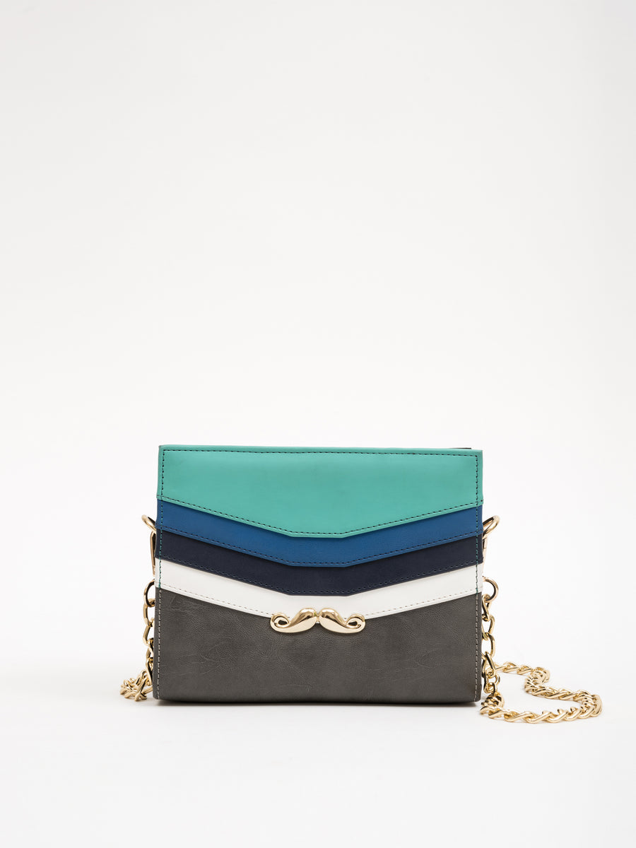 Small Aqua-Toned Bag With Metallic Moustache (Base+Skin) - nobby