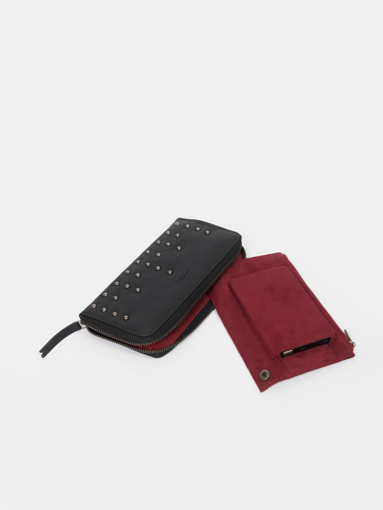 Black Wallet with Stud Detail - nobby