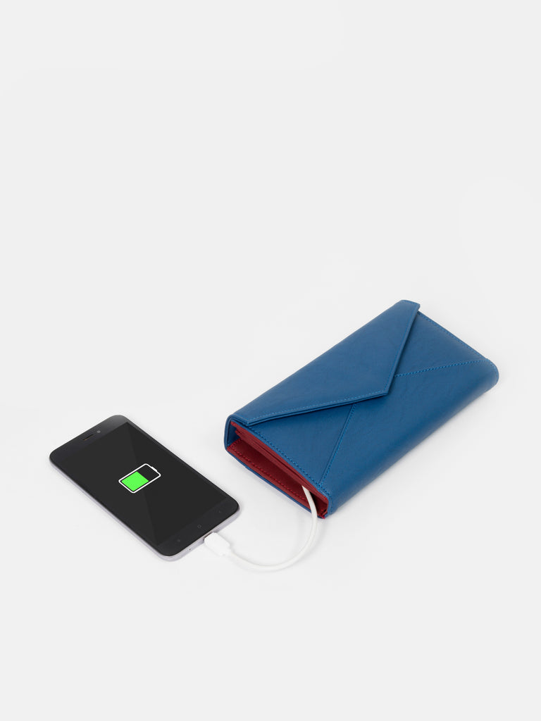 Solid Blue Wallet with Flap - nobby
