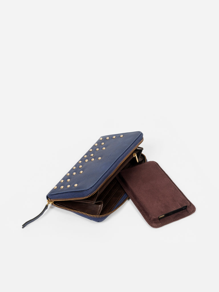 Blue Wallet with Stud Detail - nobby