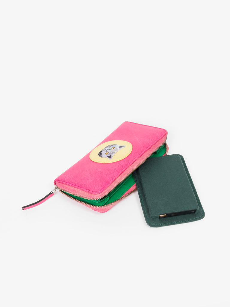 Pink Wallet with Cat Patch - nobby