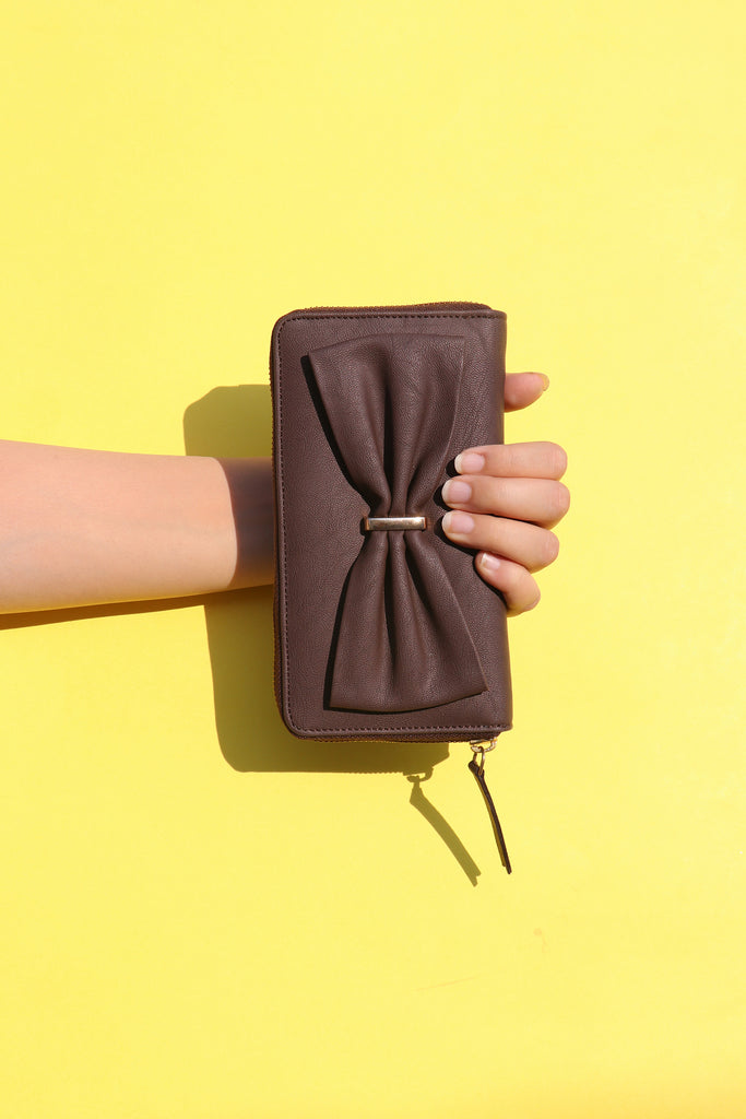 Brown Wallet with Bow Detail - nobby