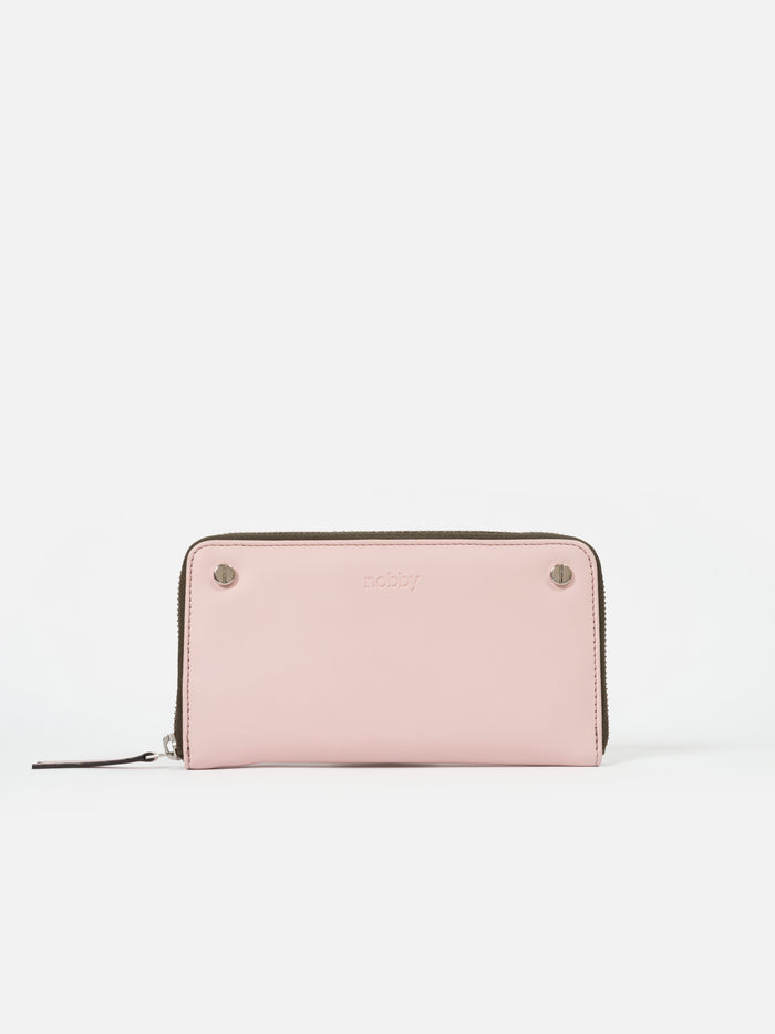 Solid Baby Pink Wallet with Screw Rivets - nobby