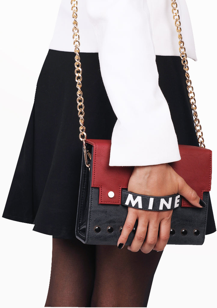 Small Bag With Slogan Patchwork and Stud Detail - Mine (Base+Skin) - nobby
