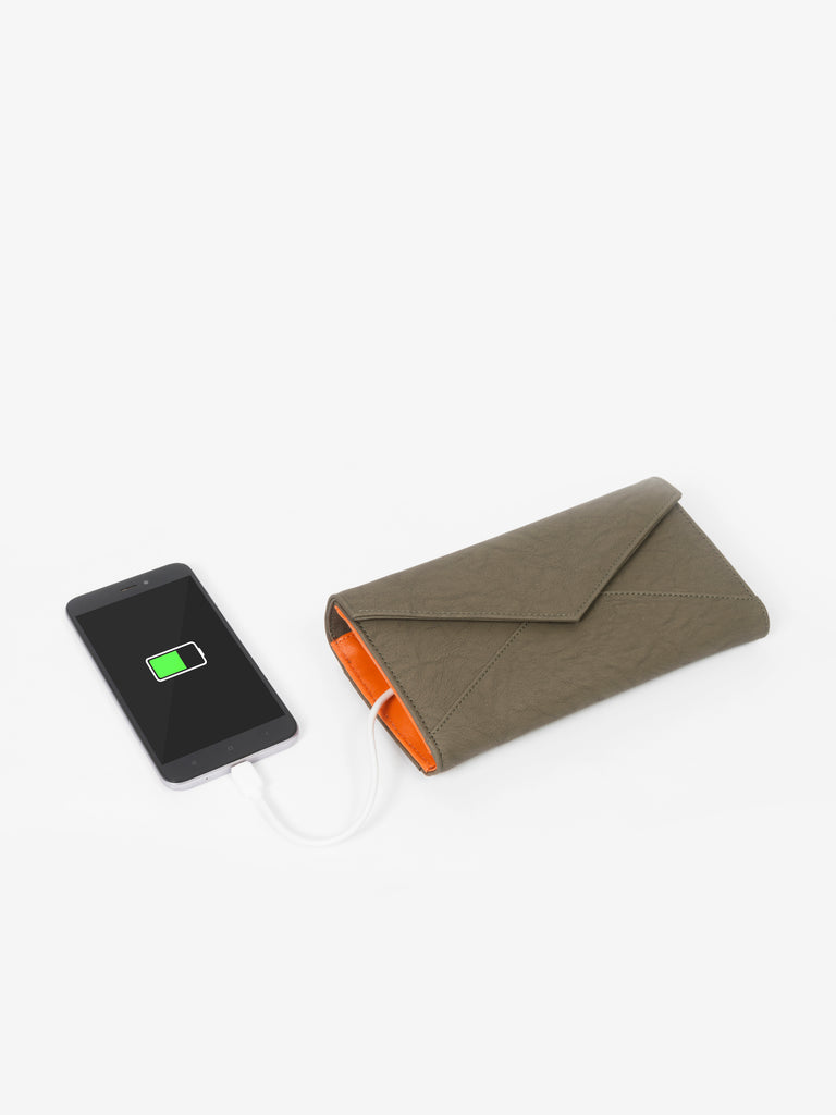 Solid Olive Wallet with Flap - nobby