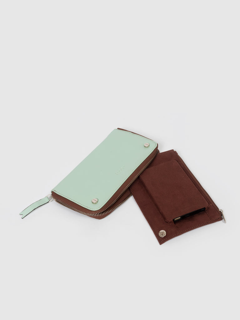 Solid Light Cyan Wallet with Screw Rivets - nobby