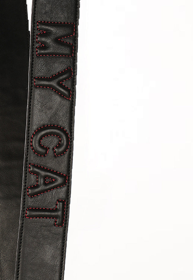 Strap with Slogan Patchwork (Black) - nobby