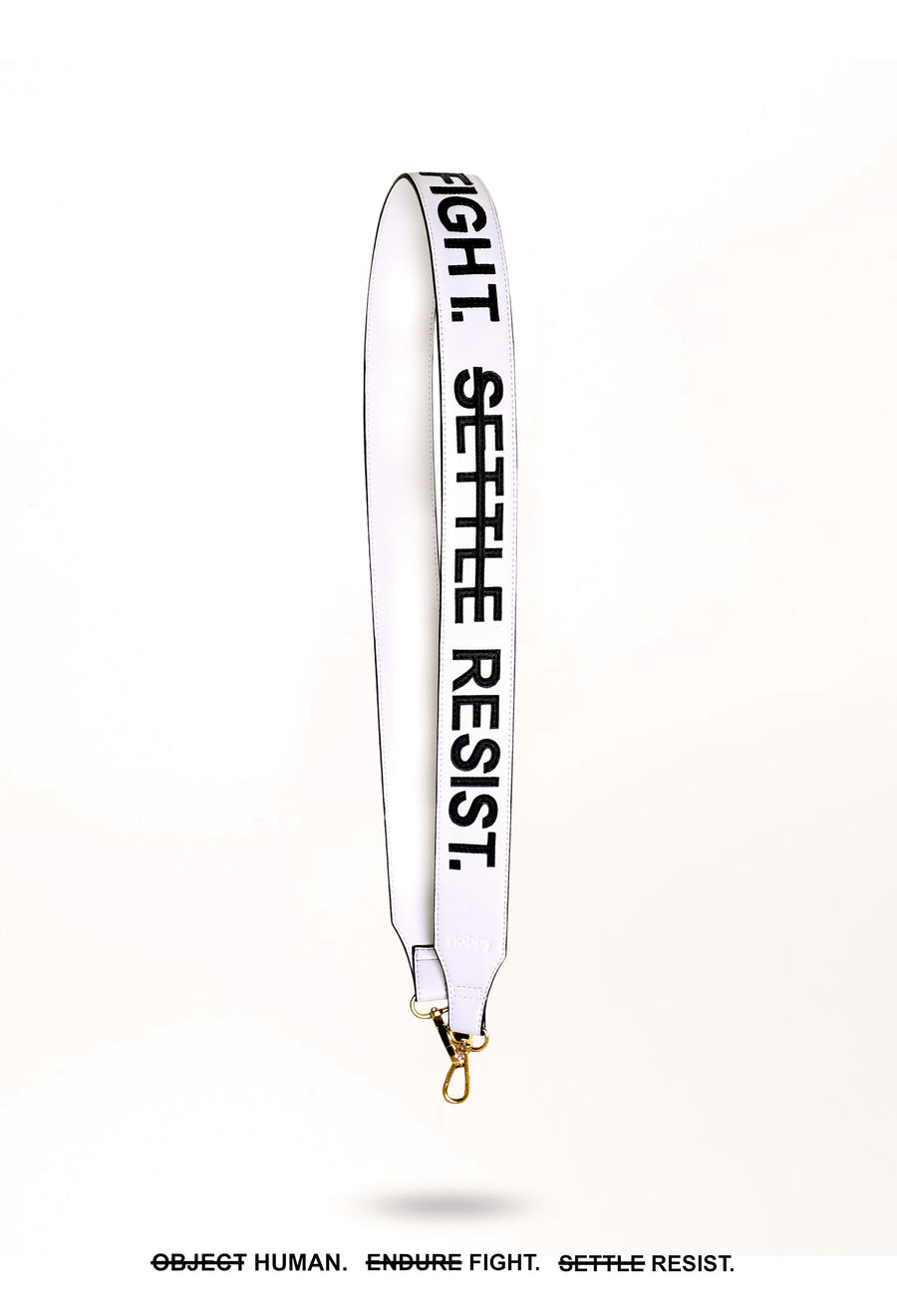 Strap with Slogan Patchwork (White) - nobby