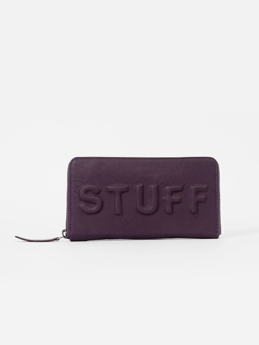 Purple Wallet with 'Stuff' Slogan - nobby