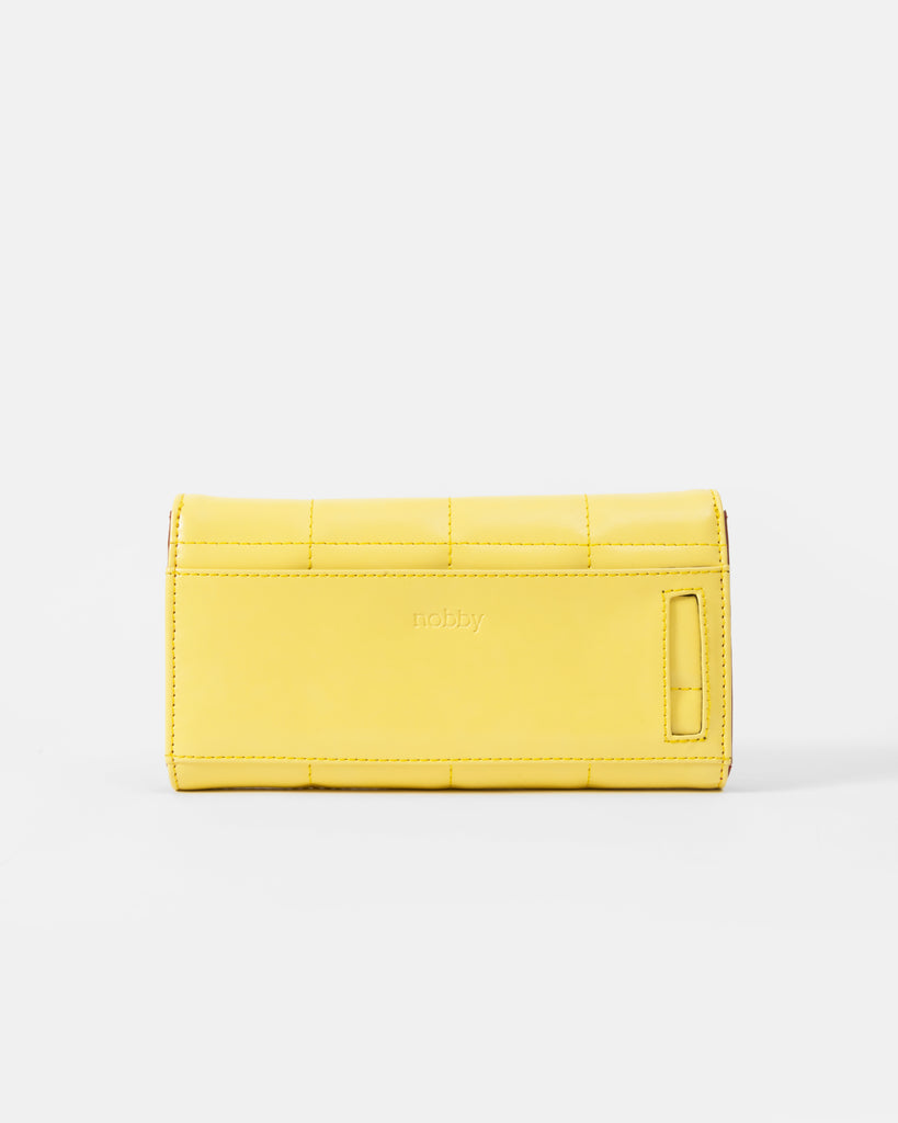 Yellow Quilted Wallet with Flap - nobby