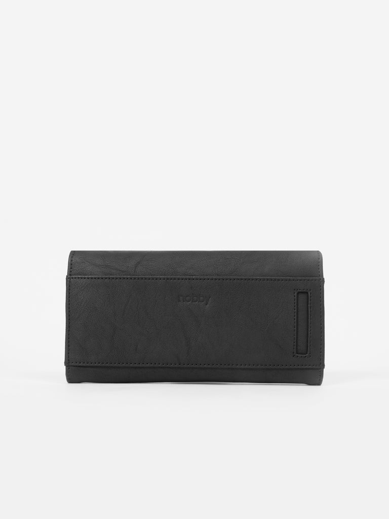 Solid Charcoal Wallet with Flap - nobby