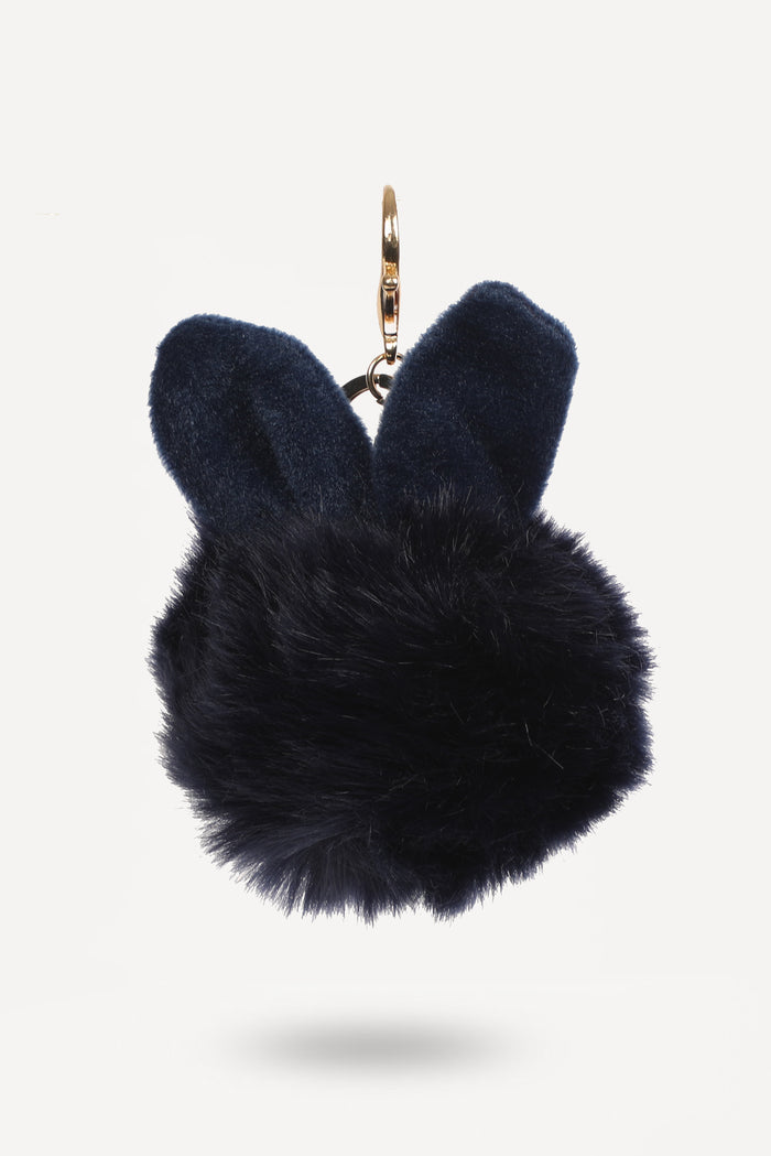 Navy Blue Bunny-Ear Fur Ball - nobby