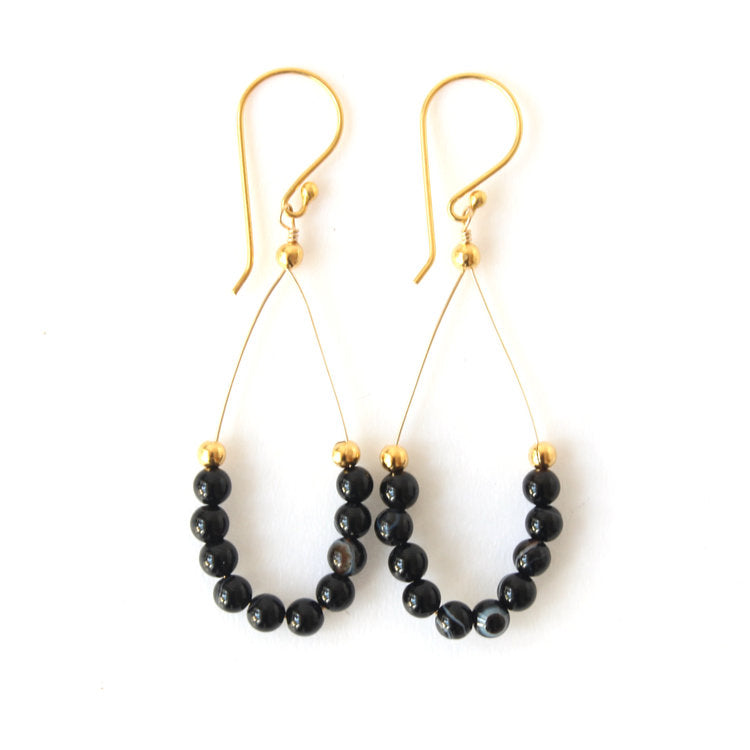 Stephanie Beaded Loop Earrings - Black