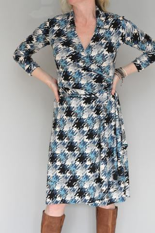 Blue-Glen Check Wrap Dress
