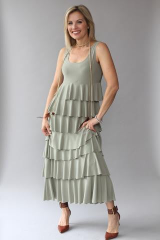 Ruffle Maxi Dress - Khaki