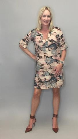 Peplum Sleeve Dress / Tunic - Rose Print