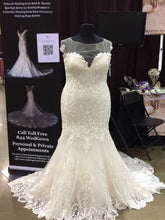 """Clarissa"" Couture By Tess Bridal Lace Mermaid Wedding Dress Illusion Back Size 18"