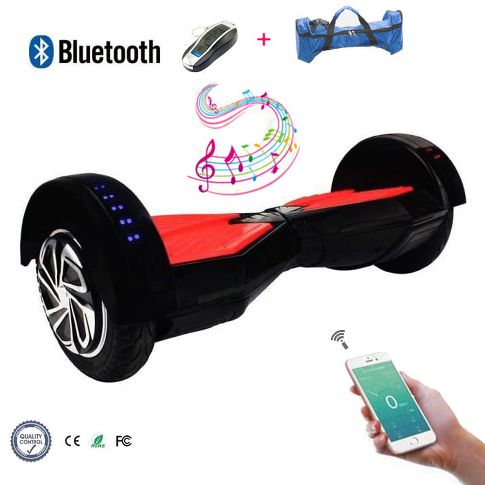 COOL&FUN Hoverboard Bluetooth gyropode 8 pouces Noir Rouge