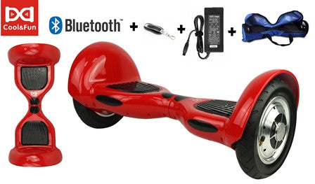 COOL&FUN Hoverboard Bluetooth, gyropode 10 pouces Rouge