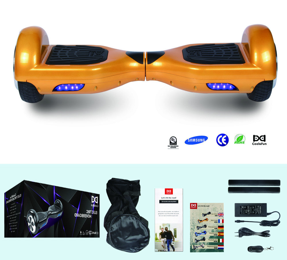 COOL&FUN Hoverboard Batterie Samsung, gyropode 6,5 pouces Doré