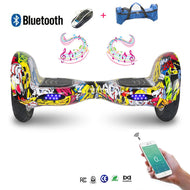 COOL&FUN Hoverboard Bluetooth, gyropode 10 pouces hiphop graffiti design
