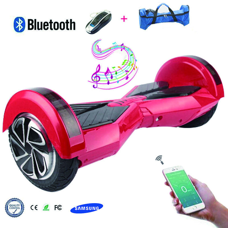 COOL&FUN Hoverboard Batterie Samsung, Bluetooth gyropode 8 pouces Rouge Noir