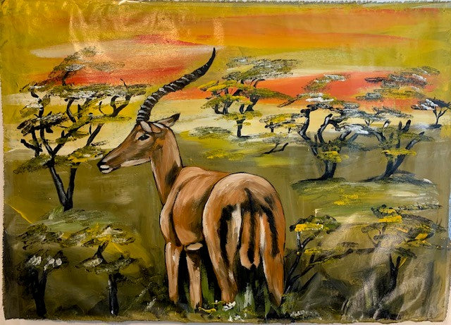 'Lonely Gaze' - African Oil Painting - BAOBAB LOST