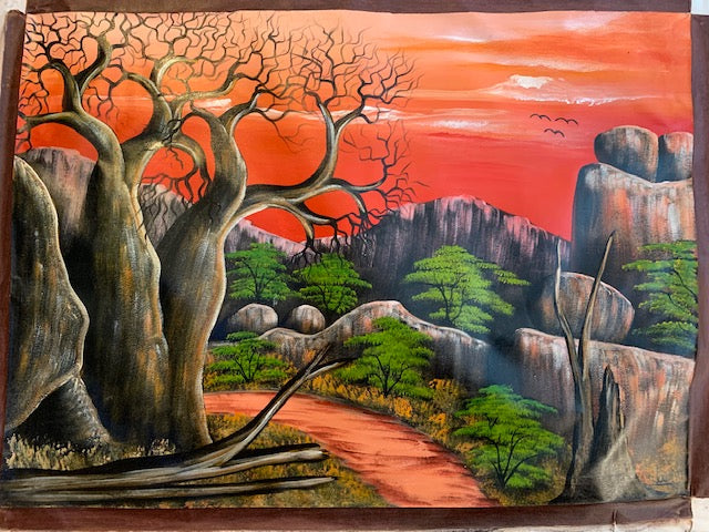 'Lonesome Baobab' - African Oil Painting - BAOBAB LOST