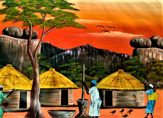 'African dwelling by the Acacia' - African Oil Painting - BAOBAB LOST