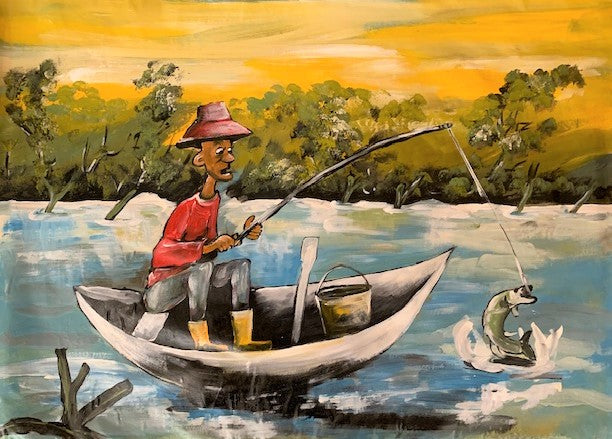 'The Fisherman' - Painting - BAOBAB LOST