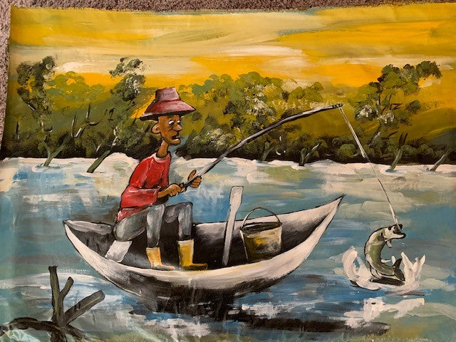 'The Fisherman' - African Oil Painting - BAOBAB LOST