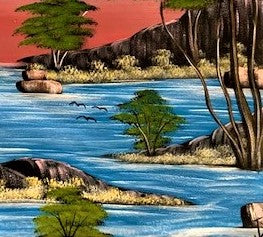 'Resting Water' - African Oil Painting - BAOBAB LOST