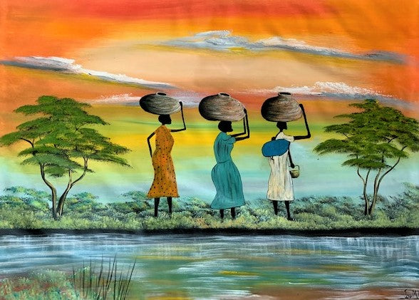 'Water is Life' - African Oil Painting - BAOBAB LOST