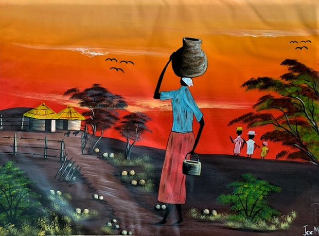 'Days End' - African Oil Painting - BAOBAB LOST