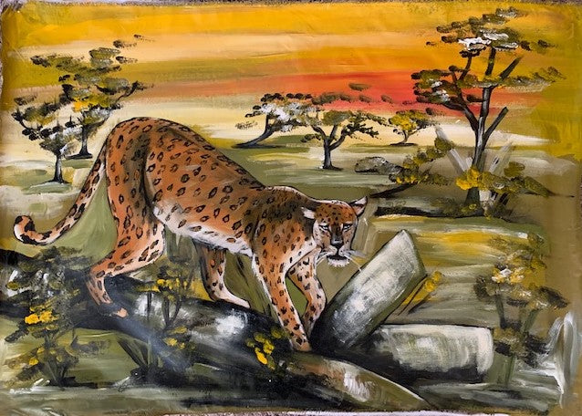 'Lazy Leopard' - African Oil Painting - BAOBAB LOST