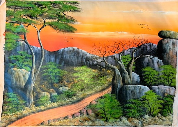 'The Acacia and the Baobab' - African Oil Painting - BAOBAB LOST