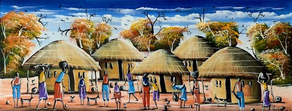 'Village Life' - African Painting - BAOBAB LOST