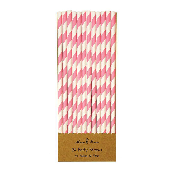 Pink & White Party Straws - IMAGINE Party Supplies