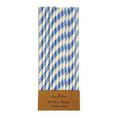Blue & White Party Straws
